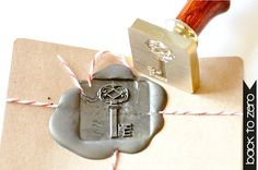 Vintage Key Gold Plated Wax Seal Stamp x 1