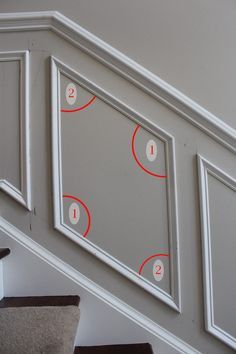 Home Remodeling Wood This article is a complete tutorial on how to install shadow box trim or molding squares to a wall in your home. - This article is a complete tutorial on how to install shadow box trim or molding squares to a wall in your home. Home Improvement Projects, Home Projects, Home Improvements, Renovation Plan, Wall Molding, Molding Ideas, Staircase Molding, Stairway Wainscoting, Staircase Design