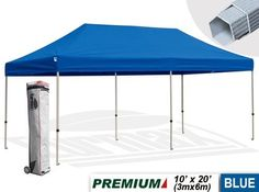 Eurmax Premium Ez Pop up Canopy with Wheeled Bag (20x10feet,blue) by eurmax. $599.95. frame package:11.8'' x 19.7'' x 64.2'' weight 100.5 LBS. Canopy top pakcage:15.7'' x 17.7'' x 5.7'' weight 16.8LBS. This 10' x 20' instant shelter canopy with adjustable legs sets up in seconds. It is ideal for commercial or recreational use (small business, craft shows, tailgate parties, picnics, camping, outdoor sporting events). The commercial grade DuraLast top provides 99% UV prote...