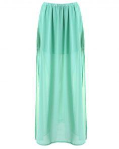 Green Chiffon Maxi Skirt