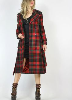 Girl Detective Red Plaid Coat by AutoluxeVintage on Etsy