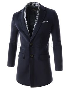 (DMC02-NAVY) Mens Scarf Attached Notched Lapel Single Breasted Thin Padded Long Coat