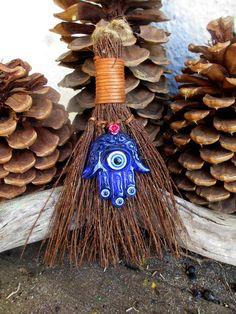 ☆ Rita's Hamsa Evil Eye Amulet Hoodoo Protection from the Evil Eye, Success, and Good Luck Cinnamon Broom ~:☆:~ Etsy Shop RitaSpiritualGoods ☆
