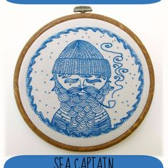 Cozyblue Sea Captain PDF Embroidery Pattern (other adorable patterns, too!) #embroidery #needlecraft #sea #captain #ocean #nautical #baby #nursery #boy #home #decor #handmade #craft #activity #kids #teens #pdf #download #printable #illustration #design