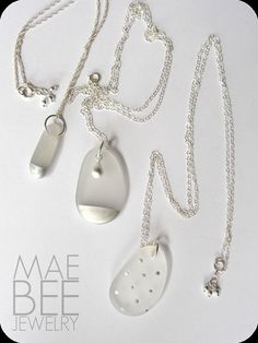 Beachglass necklace seaglass Silver Polkadot by JewelryByMaeBee