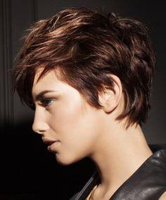 side pixie, dark brown/auburn hair