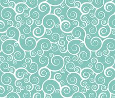 Fancy Swirls - White on Teal fabric by shelleymade on Spoonflower - custom fabric; to coordinate with other fabrics for Meghan's quilt. Gorgeous fabric, silky though cotton.