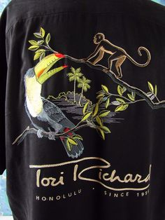 Tori Richard Med Silk Embroidered Back  Button Front Hawaiian Shirt Solid Black #ToriRichard #ButtonFront