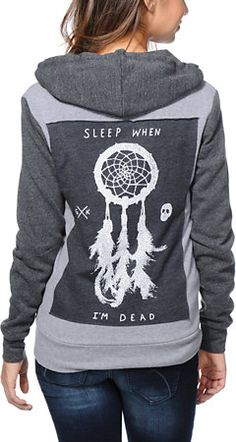 premium selection caa5a f132e Glamour Kills Sleep Forever2 Tone Grey Zip Up Hoodie at Zumiez   PDP Sleep  Forever,