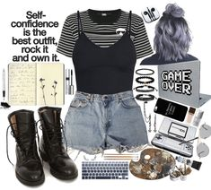Discover outfit ideas for weekend made with the shoplook outfit maker. How to wear ideas for logo striped T-shirt and mascara Cute Emo Outfits, Teenage Outfits, Punk Outfits, Swag Outfits, Retro Outfits, Grunge Outfits, Stylish Outfits, Vintage Outfits, Girl Outfits