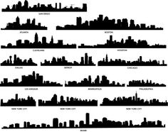 US Cityscape silhouette. DIY painting or paper art!