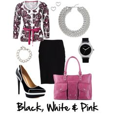 Black, White & Pink by xiaozhi on Polyvore