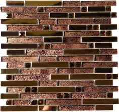 bronze and black mosaic tile backsplash - Google Search