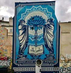 Shepard Fairy at Place Igor Stravinsky in 2019 Shepard Fairy, Street Art, Graffiti Tagging, Paris Art, Urban Art, Cool Art, Murals, Creative, Artist