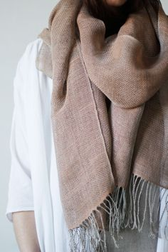 """Made from deadstock linen, hand dyed with natural materials in Erin's studio, and hand woven by Owyn.  Measures 90"""" x 20"""""""