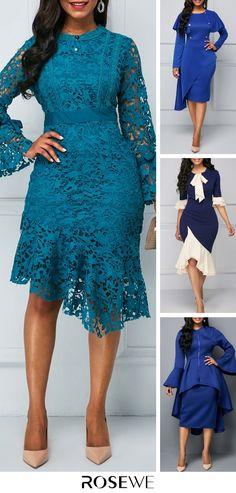 Lace blue dress - Flare Sleeve Asymmetric Hem Peacock Blue Lace Dress flare sleeve, elegant, sheath, focal of the crowd Long Dress Fashion, Women's Fashion Dresses, Dress Outfits, Dresses Dresses, Elegant Dresses, Pretty Dresses, Chic Dress, Dress Up, Marine Uniform