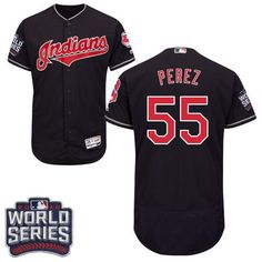 Indians #55 Roberto Perez Navy Blue Flexbase Authentic Collection 2016 World Series Bound