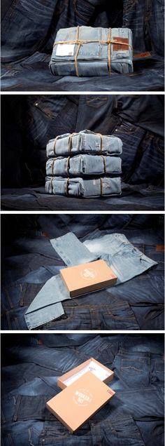 Mustang demonstrated the toughness of their jeans' quality by shipping them this way. The box on the inside only contained the packing slip.