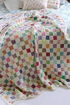 Crochet Flowers Design Ravelry: Battenberg Blanket pattern by Sandra Paul - Granny Square Crochet Pattern, Afghan Crochet Patterns, Crochet Squares, Crochet Stitches, Knitting Patterns, Crochet Afghans, Crochet Blankets, Free Knitting, Crochet Blocks