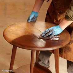 Restore the Color with Gel Stain - It's amazing what a coat of gel stain can do to restore a tired-looking piece of furniture. The cool part is that you don't need to strip the old finish for this to work. Kevin demonstrated the tip on this round oak table. The finish was worn and faded. He loaded a soft cloth with dark gel stain and worked it into the surface. Then he wiped if off with a clean cloth. It was a surprising transformation. Of course, gel stain won't eliminate dark water stains…