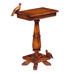 Carved Wood Bird Table
