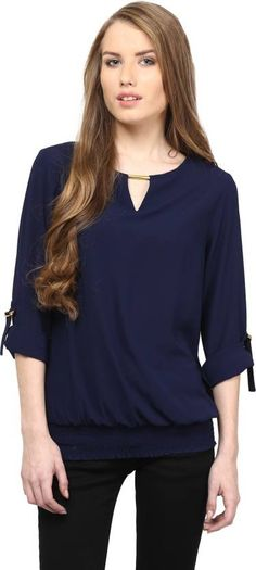 53f96c2d05e Rare Casual Roll-up Sleeve Solid  Women s Blue Top