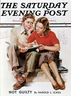 Helping With Homework. Saturday Evening Post, May 25, 1940 (Frances Tipton Hunter)