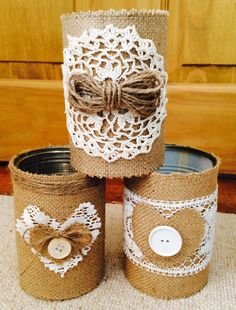 3 Shabby chic burlap and lace candle by GorgeousAgaindotcom, £9.50