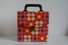 Retro vinyl carrier case 7 record box flower by vintagemoodsNL