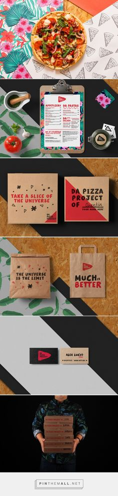 Da Pizza Project / Do it Yourself on Behance. - a grouped images picture - Pin Them All Pizza Branding, Pizza Logo, Pizza Menu, Food Branding, Restaurant Branding, Cake Packaging, Packaging Design, Branding Design, Menu Design