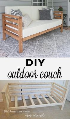 So you build a DIY Outdoor Couch for only 30 US Dollar lumber! This Outdoor Couch is perfect Outdoor Couch, Diy Outdoor Furniture, Diy Furniture Projects, Home Projects, Garden Projects, Furniture Plans, Diy Garden, Rustic Furniture, Diy Home Furniture