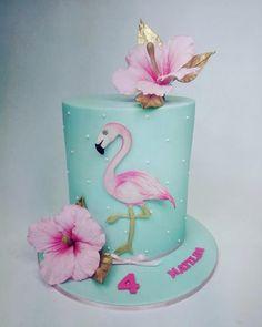 Flamingo birthday cake for Matilda by emdorty