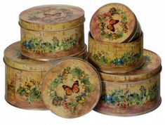 Improve your storage with this delightful Set Of 5 Butterfly Round Tins. Designed to brighten up your rooms while providing additional storage the Set Of 5 Butterfly Round Tins fulfils both tasks perfectly. French Furniture, Shabby Chic Furniture, Luxury Decor, Luxury Interior, French Baskets, Wash Tubs, Small Tins, Office Furniture Stores, Tin Boxes