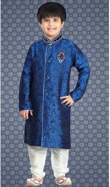Blue Color Jacquard Readymade Boys Churidar Kurta | FH508477451 #boys, #kurta, #sherwani, #pajama, #readymade, #churidar, #kids, #wear, #sherwani, #blazzer, #suits, #indian, #fashion, #boutiques, #heenastyle, #Kids , #traditional, @heenastyle , #mens