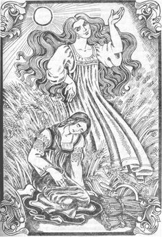 Lady Midday, also known as Poludnitsa in Russian, is a spirit in Slavic folklore. She is usually depicted as a beautiful woman wearing a white dress, though sometimes she appears as an old hag or a young girl. Sometimes she also carries a scythe or shears and travels in a cloud of swirling dust.