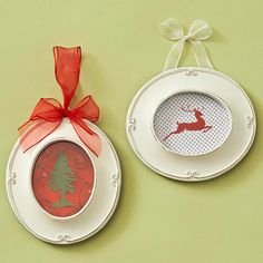 Recycle old Christmas cards in little frames that you paint. Very cute!