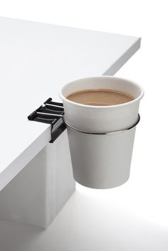 Product Design // modern cup holder. The Cup Clip - Multifunctional Clip by Monkey Business at BellaKoola