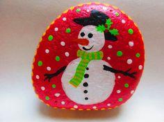 Christmas Painted Rocks Snowman