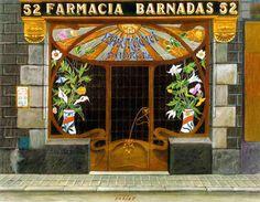 #Farmacia Padrell de estilo modernista, en el Barrio Gótico de #Barcelona .