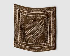 Vintage brown silk scarf printed with a pattern like giraffe skin