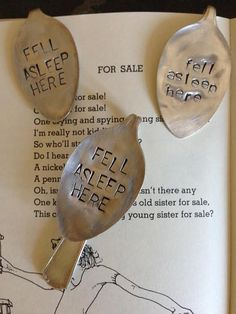 Just before your book hits thebed, stick this cute book mark in it to save your place. Hand stamped on a vintage silver plated spoon, this book mark makes the