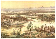 Lower Devonian landscape | Zdeněk Burian (1905-1981) | Prehistoric Animals (1960)