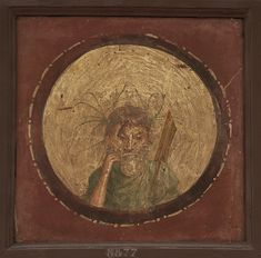 Medallion depicting the bust of river deity. Fresco from Pompeii. Inv. No. 8877. Naples, National Archaeological Museum