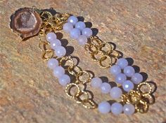 Periwinkle jade and geode necklace by LolaBelleGems on Etsy, $80.00
