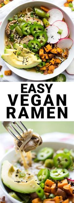 Easy Vegan Ramen: An homemade ramen that's full of vegetables, texture, &…
