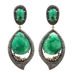 Emerald Diamond  and Yellow Sapphire Half Moon Earrings