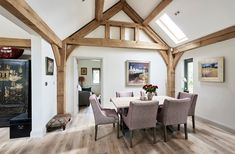 Border Oak - Single Storey dwelling with oak framing. Border Oak, Oak Framed Buildings, Roof Design, Pergola, Kitchen Extensions, Outdoor Structures, Country Homes, Pure Products, Case Study
