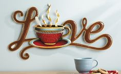 Love Coffee Decorative Metal Wall Art Sign Home Kitchen Coffeehouse Decor NEW