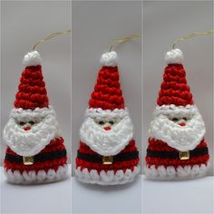 Crochet Santa Ornament is a cone shape Christmas decoration.