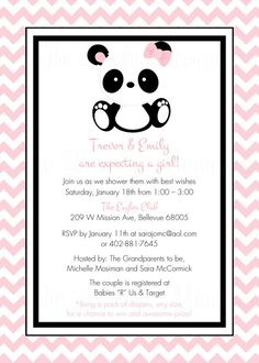 Baby Panda Baby Shower Party Printable Party Invitation & Tag Set.